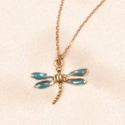 Chevilles libellules Bleu, Or