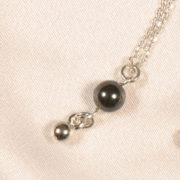 cheville perle hematitte et argent