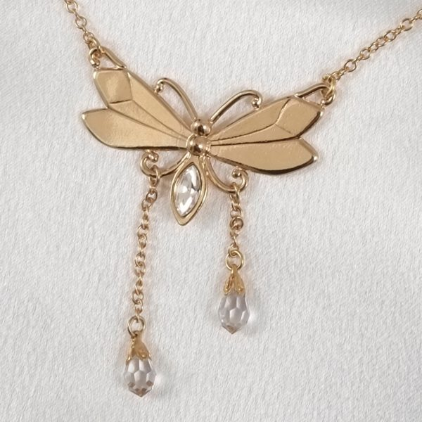 CHT117 A chaine taille papillon cristal or