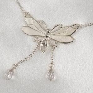 CHT118 A chaine taille papillon cristal argent