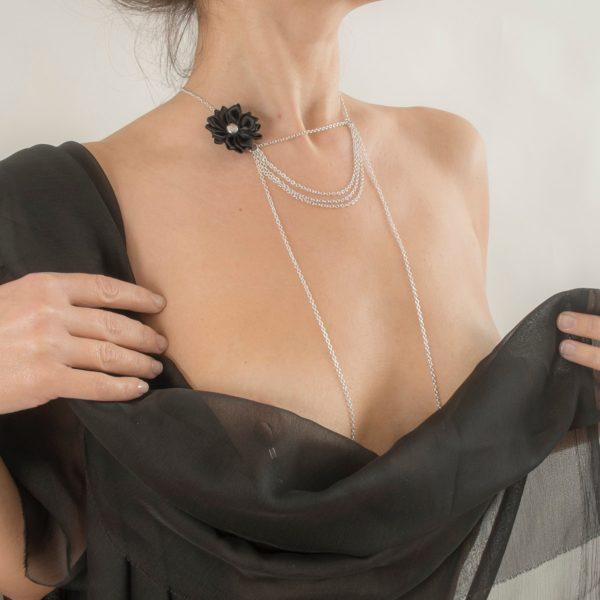 COS73 A collier seins parfum amour argent