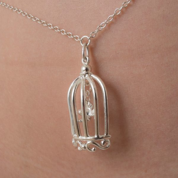 Chaine taille Cage d'Amour col argent