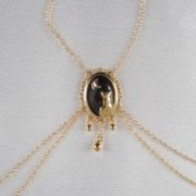 Cameo moonlight breasts necklace gold