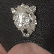 Leather lion G-string silver