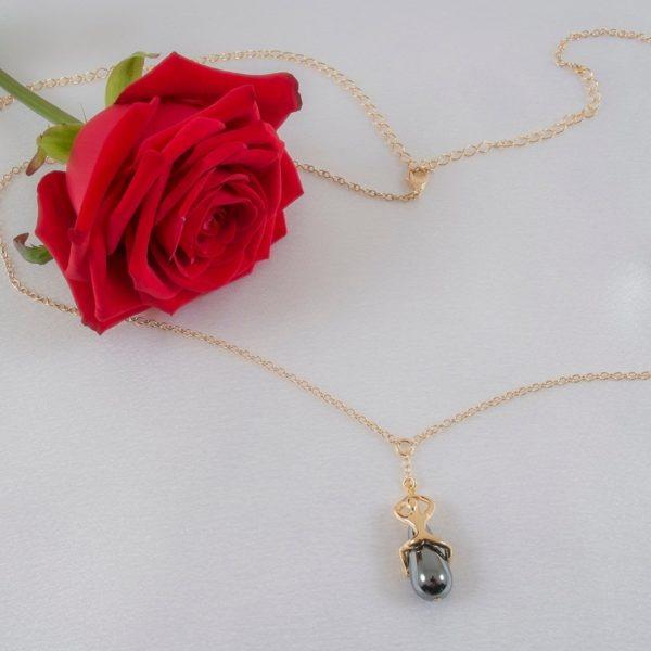 Chaine Taille Perle Hématite Passion Secrète Or