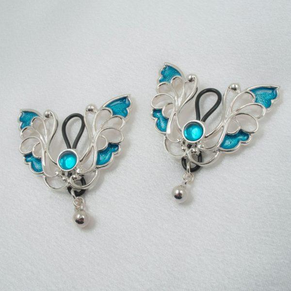 Schmuck-Brust-ohne-Piercing-Schmetterling-Silber