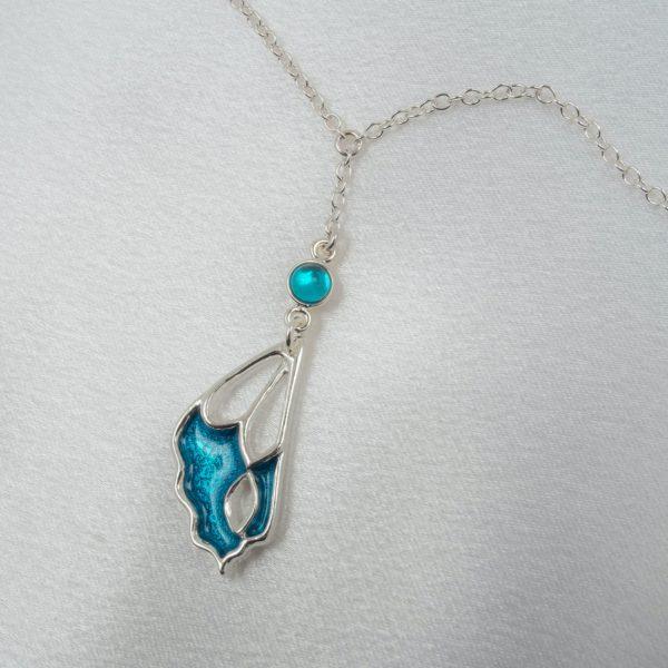 Schmuck-Taille-sinnlich-Schmetterling-Silber-blau