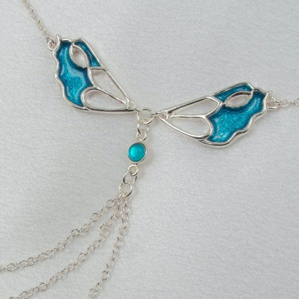 Schmuck-Taille-sexy-Hüften-Schmetterling-Silber-blau