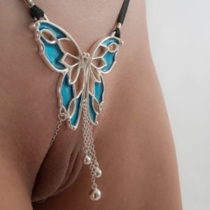 sexy thong butterfly gold blue